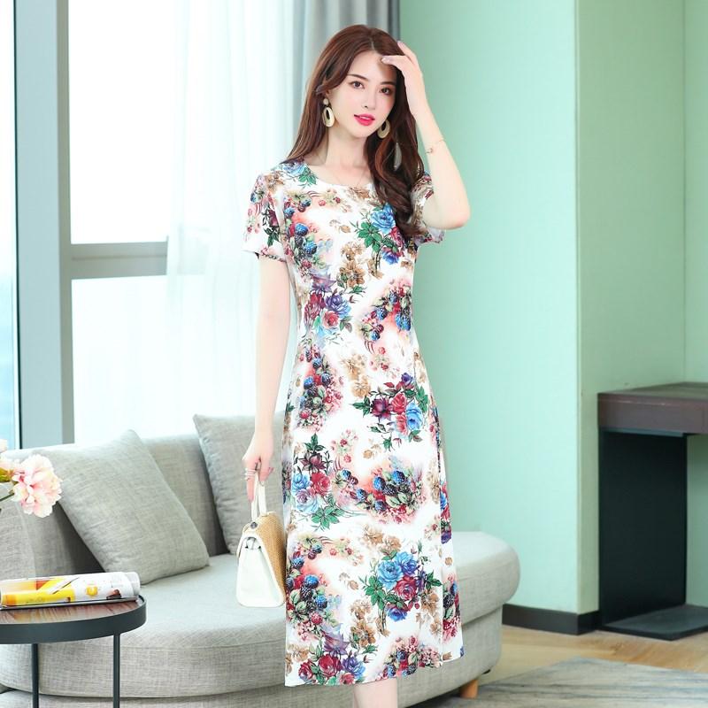 热销0件需要用券妈妈新款夏季纯棉绸连衣裙年轻款中长款人造棉长裙子中年女夏装45