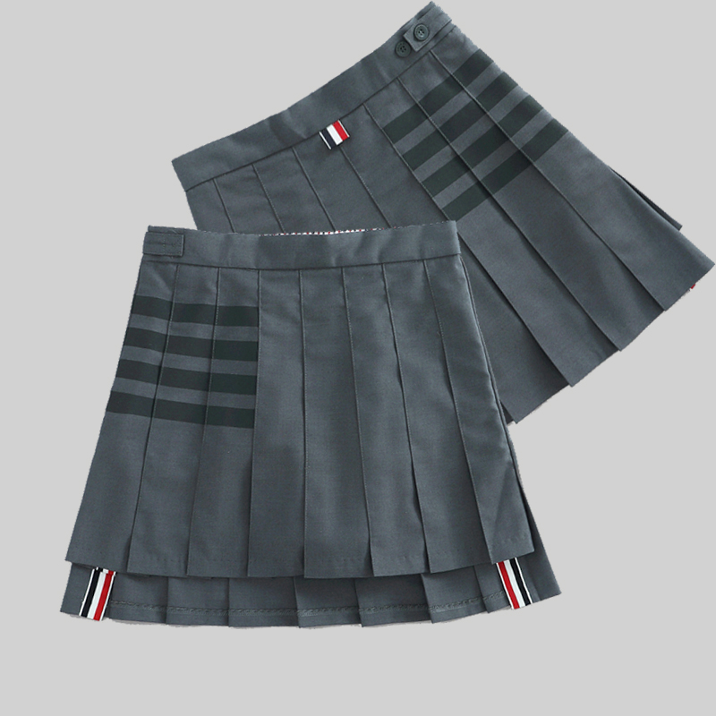TB short skirt womens high waist pleated skirt A-line skirt 2020 spring and autumn new gray thin suit skirt college style