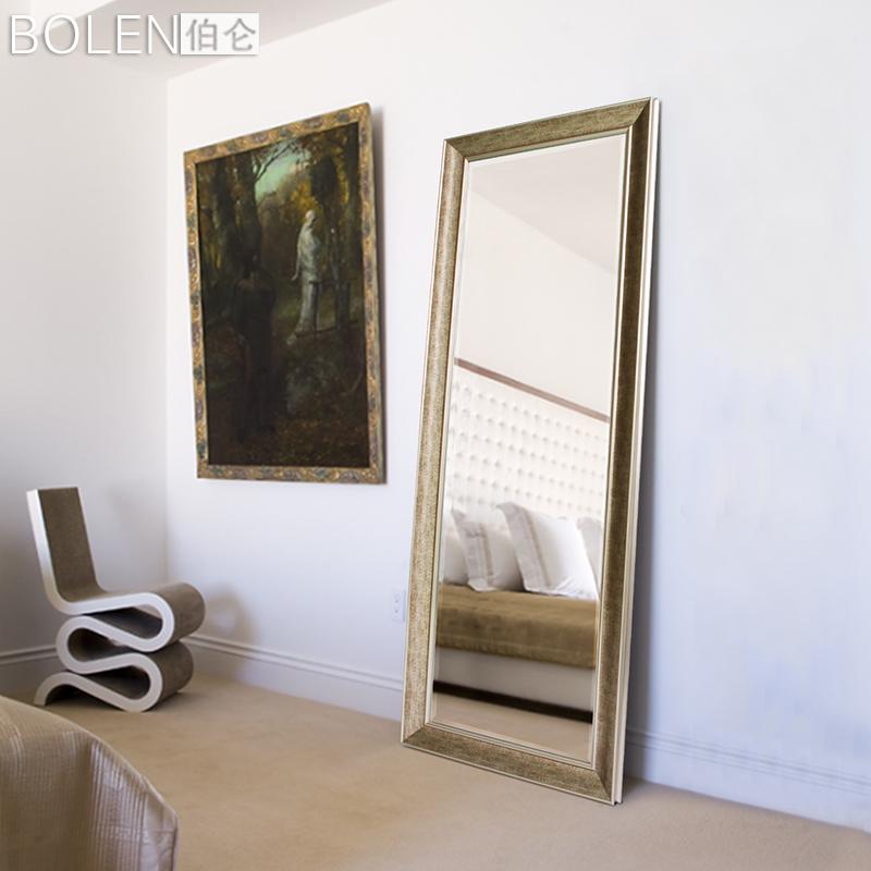 穿衣镜壁挂田园简约现代风格木纹边框墙壁镜子有框镜试衣镜全身镜