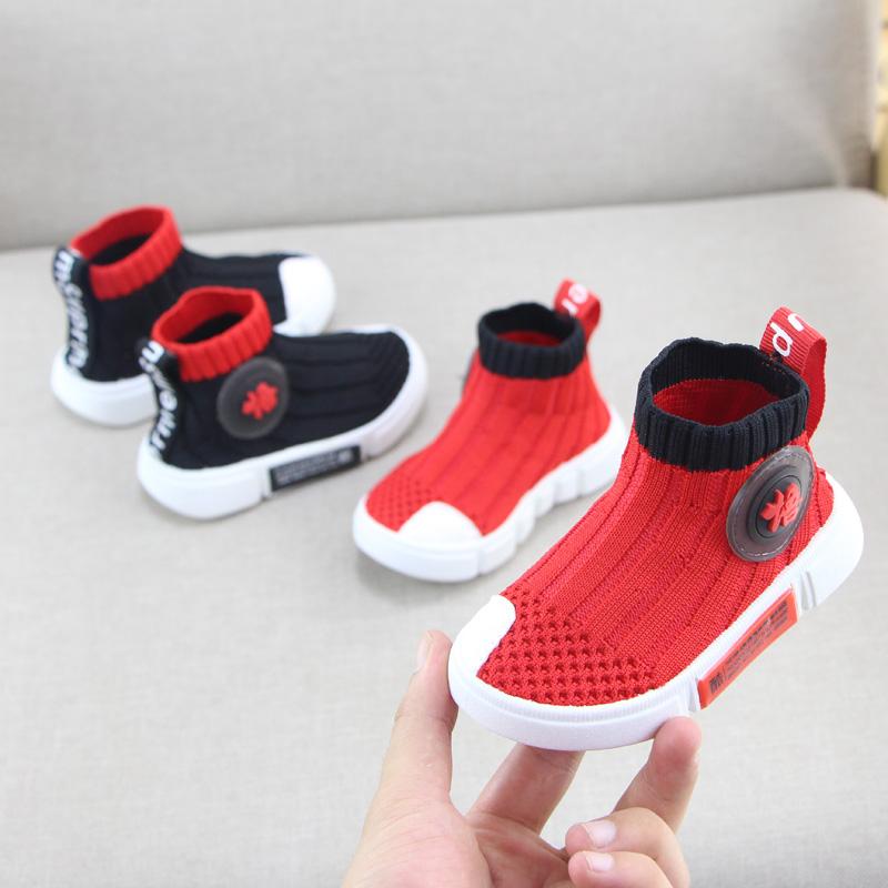 春秋儿童鞋飞织透气网鞋1-3岁女宝宝鞋软底男学步鞋小童高帮板鞋