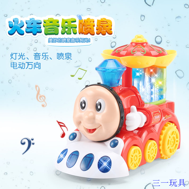 Electric music fountain train childrens music toy car mens and womens 3-4-5 baby car cartoon characters