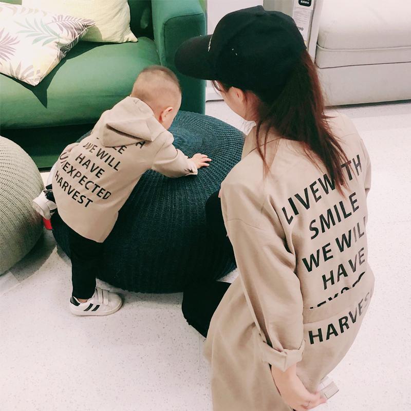 (用1元券)亲子装春秋装新款外套2019母子全家装潮一家三口装母女中长款外套