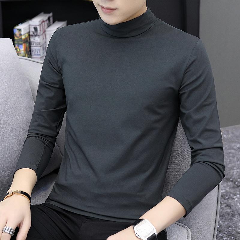 莫代尔长袖t恤男潮流纯色秋衣内搭半高领秋冬加绒打底衫中领卫衣图片