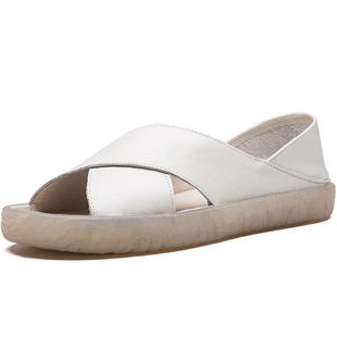 女士拖鞋涼鞋夏羅馬平底真皮媽媽牛筋軟底孕婦防滑外穿中老年舒適