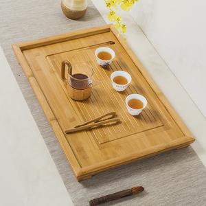 竹制茶盘功夫茶具茶盘排水式茶台大中小平板茶托盘家用竹子干泡