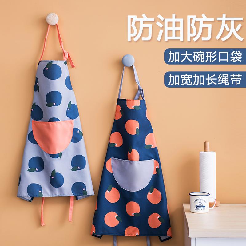 厨房波点韩版家用挂脖系带做饭围裙满15.60元可用0.8元优惠券