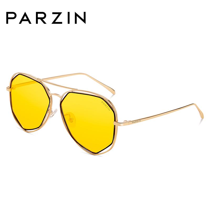 帕森偏光太阳镜 女士多边形金属细框浅色炫彩膜潮墨镜 新品8121A