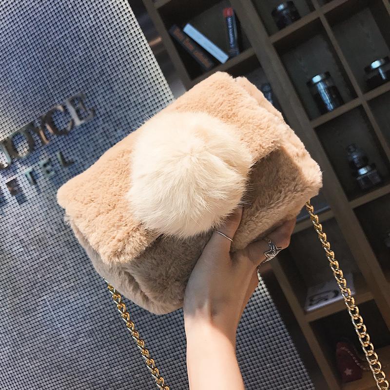 Elmo мешки женщина 2017 новинка зимний осеннний волна корейский дикий плюш сумку сумка мини цепь пакет