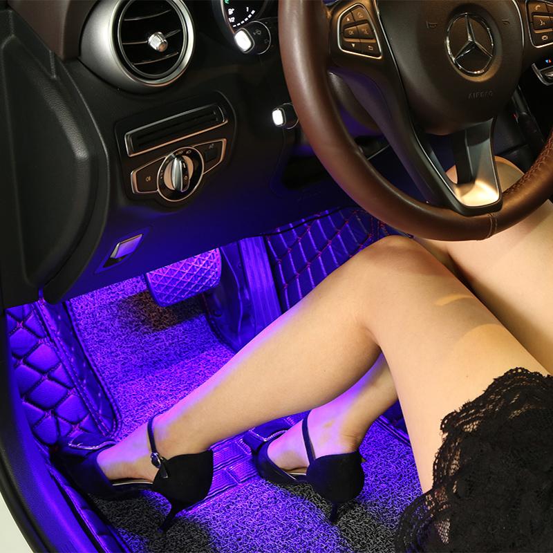 汽车氛围灯车内气氛灯免改装饰USB脚底车载LED音乐声控节奏内饰灯