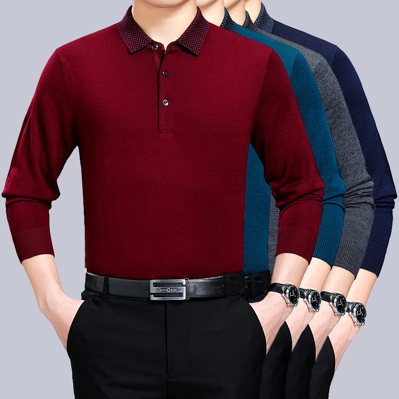 中年长袖t恤男加肥加大码宽松翻领爸爸春装新品超大号针织打底衫