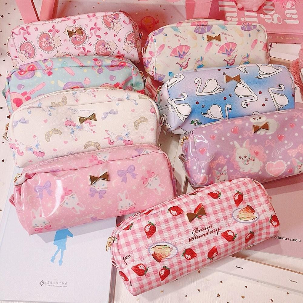 日系学生可爱卡通洛丽塔化妆包收纳少女包软妹文具袋大容量笔袋女
