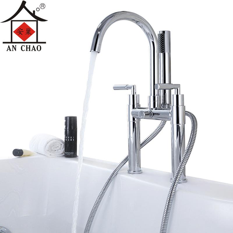双孔浴缸龙头 冷热 全铜坐式浴缸边水龙头 安巢3801