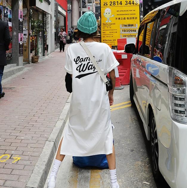 韩国直发正品代购春夏女纯棉字母印花宽松休闲学院简约长款连衣裙