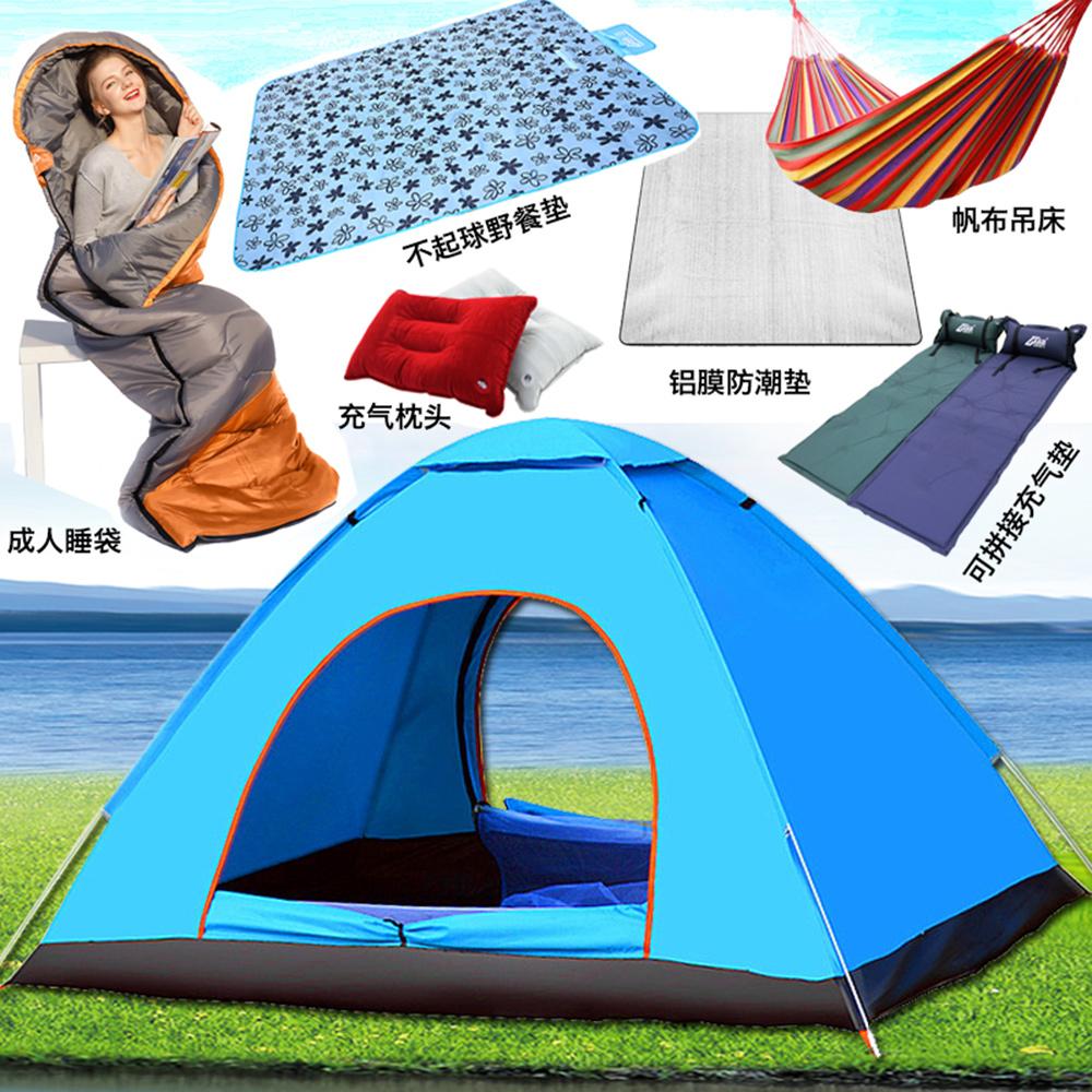 帐篷户外2人双人野营情侣露营3人-4人防雨防水加厚全自动两室一厅