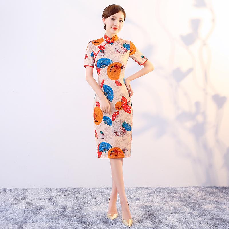 日常改良旗袍夏季2018新款女时尚少女年轻中国风印花中长款连衣裙