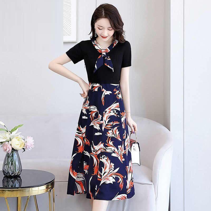 连衣裙女2020夏季新款修身收腰显瘦气质女神范轻熟风雪纺碎花裙子