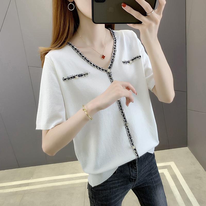 V-neck fake pocket short sleeve knitted white T-shirt women 2021 new summer loose small ice silk top women