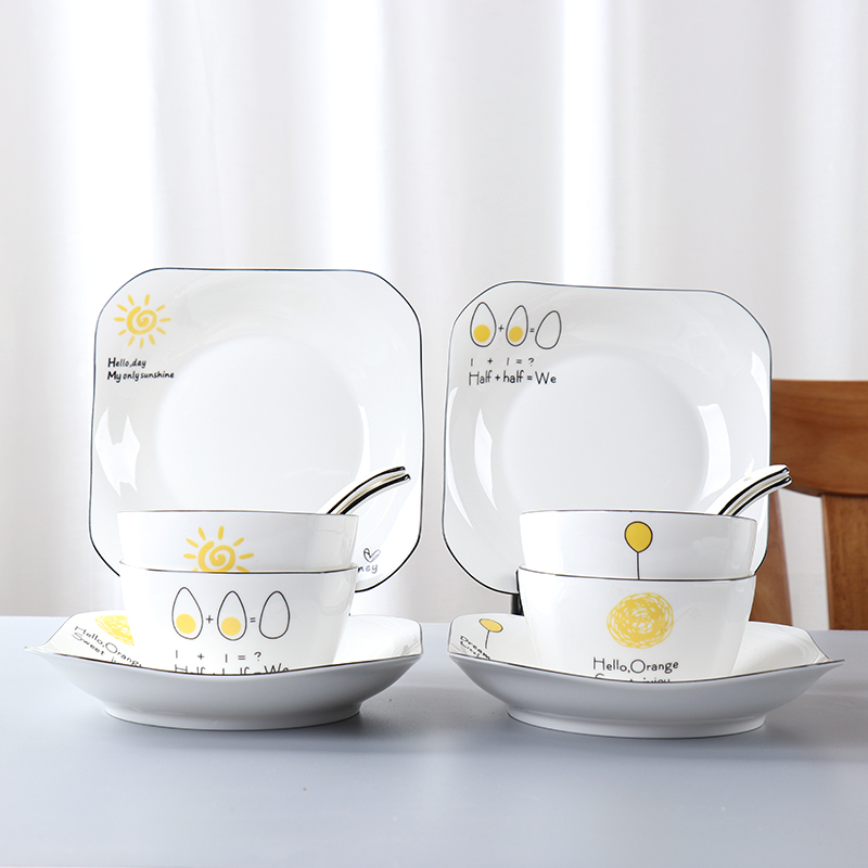 Dishes set lovers cute creative household ceramic chopsticks eating bowls and plates 2 people 4 people Nordic tableware