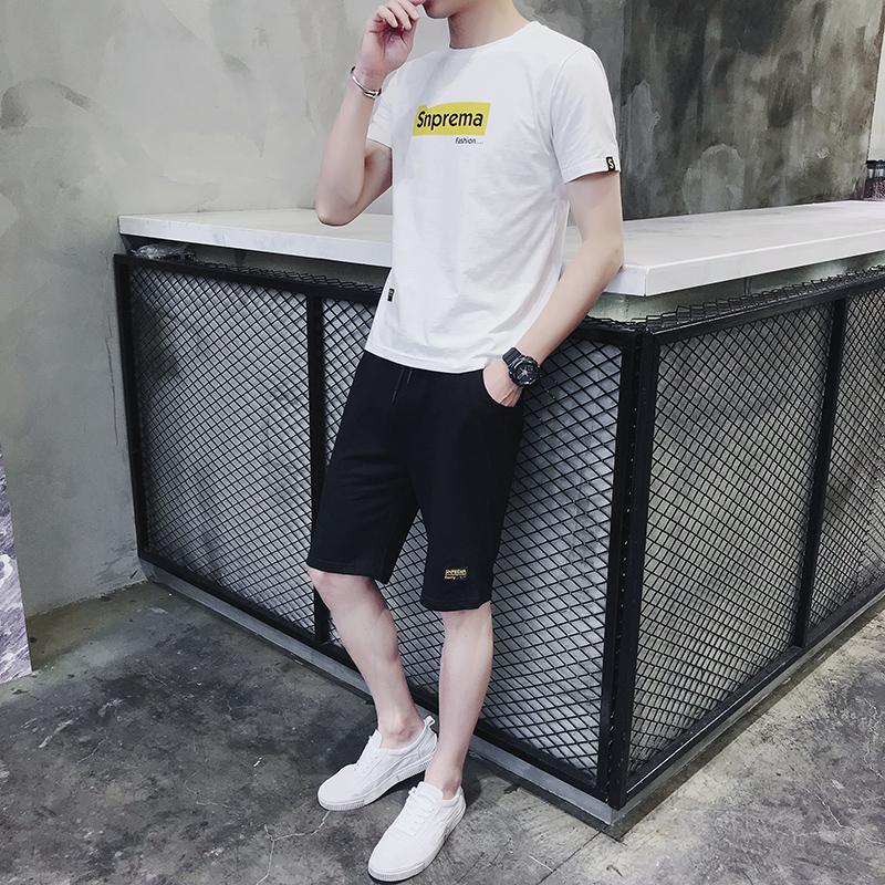 套装男士T恤短袖两件套韩版潮流休闲运动2018夏季新款修身一套