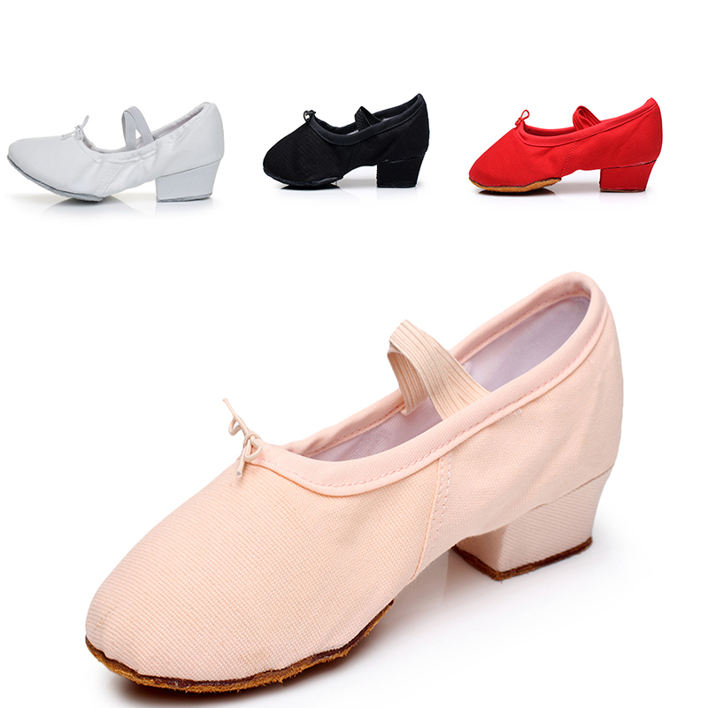 Real leather belt heel womens ballet shoes soft soled folk dance belly dance Yoga cat claw childrens training teachers shoes