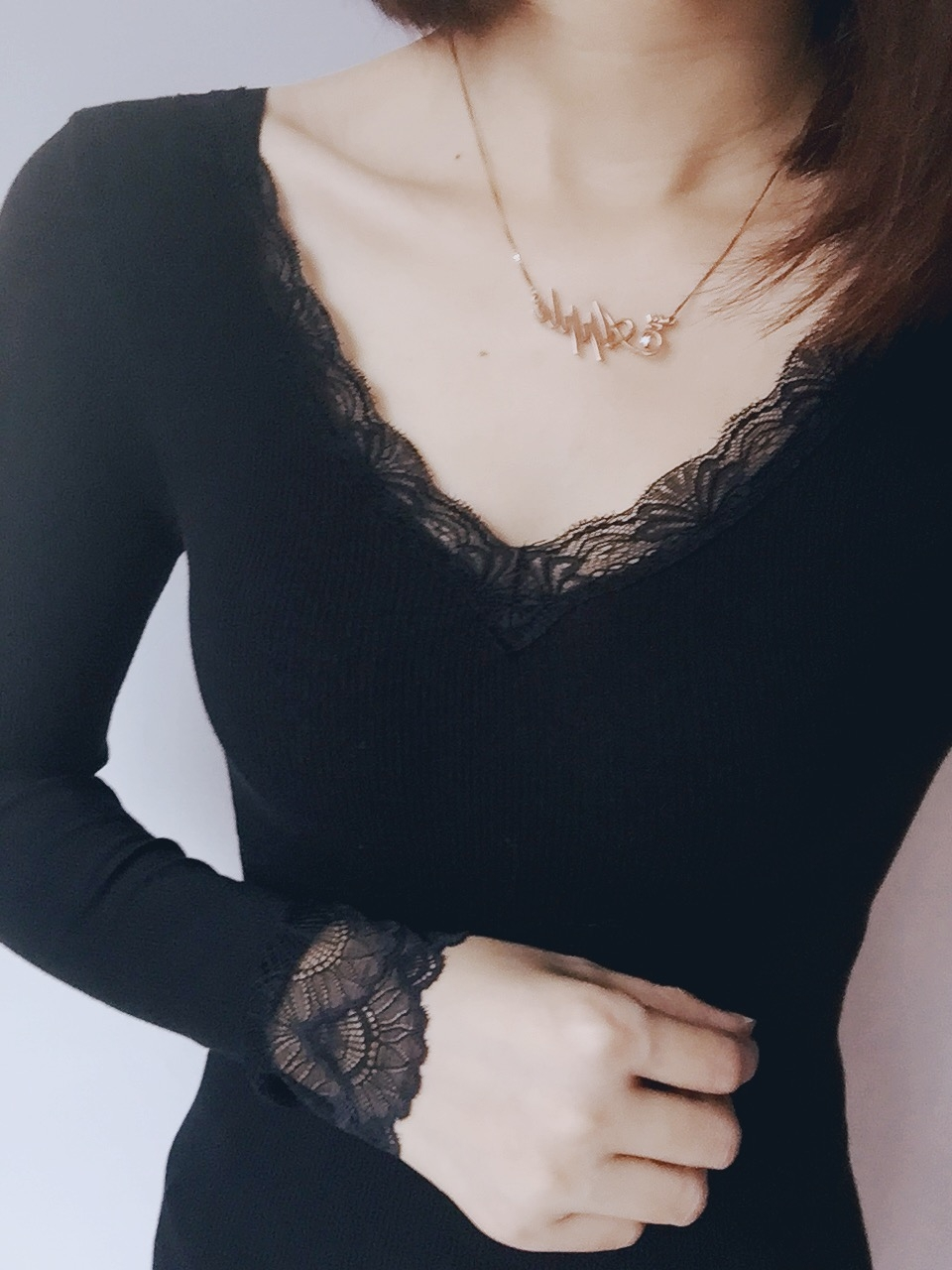保暖内衣女双面低领超蕾丝内搭长袖薄款上衣单件修身打底秋衣