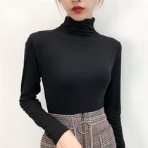 秋冬胖妹妹莫代尔半高领打底衫内搭洋气大码T恤胖mm200斤秋衣女