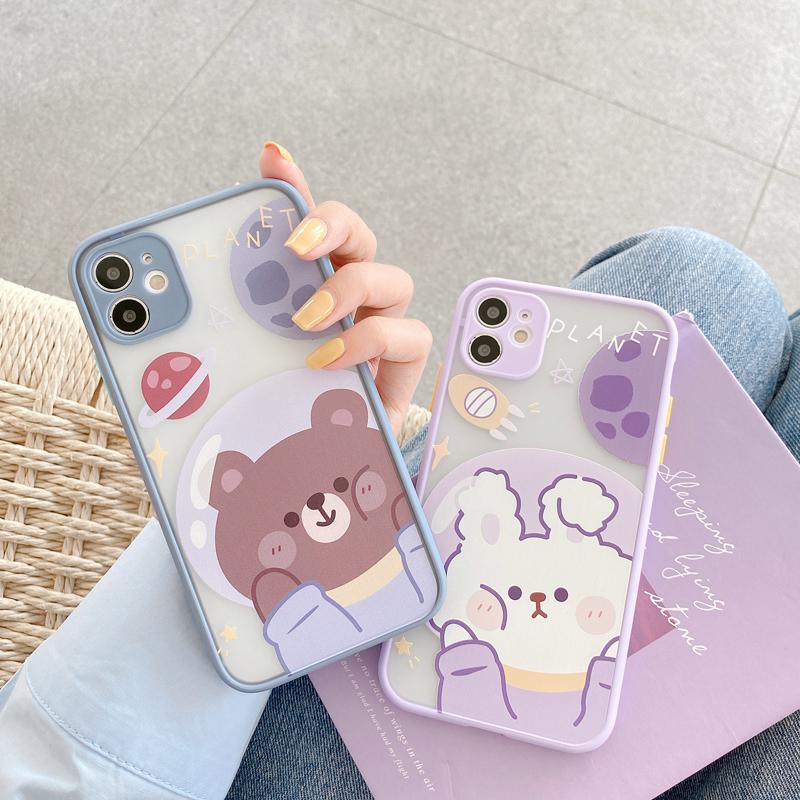 格瑞能适用iPhone12情侣手机壳11pro卡通太空小熊兔子XsMax/XR摄像头全包苹果mini软壳7/8plus保护套可爱女款