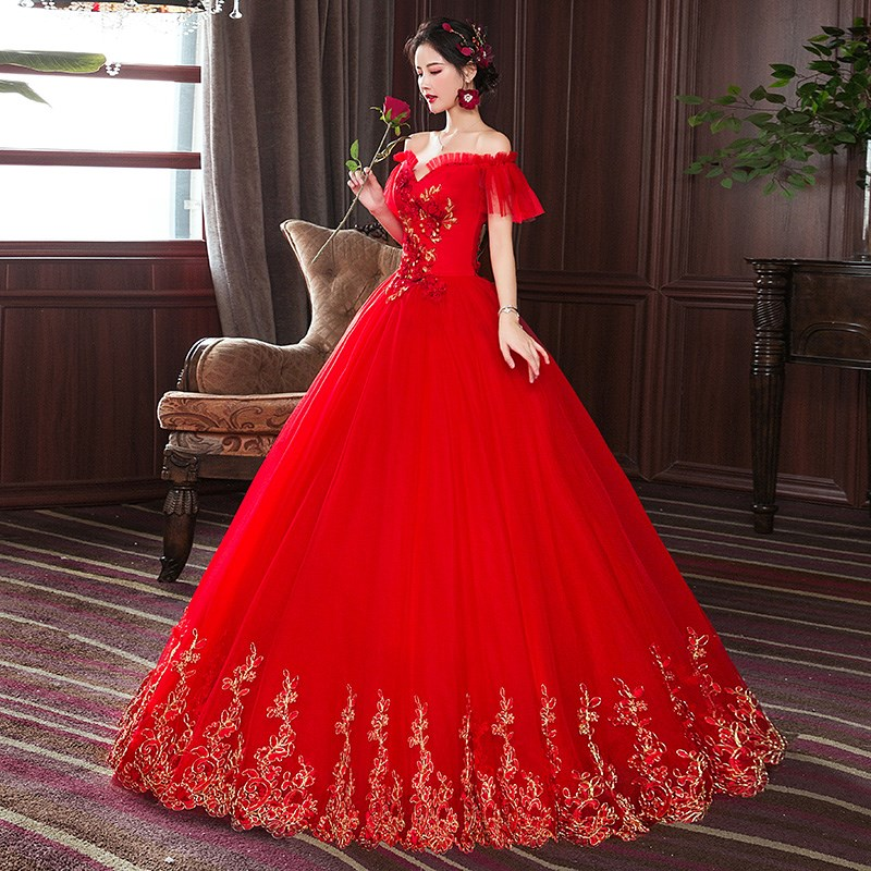 Wedding dress 2020 new bridesmaids red super fairy dream little mans wedding dress looks thin in spring