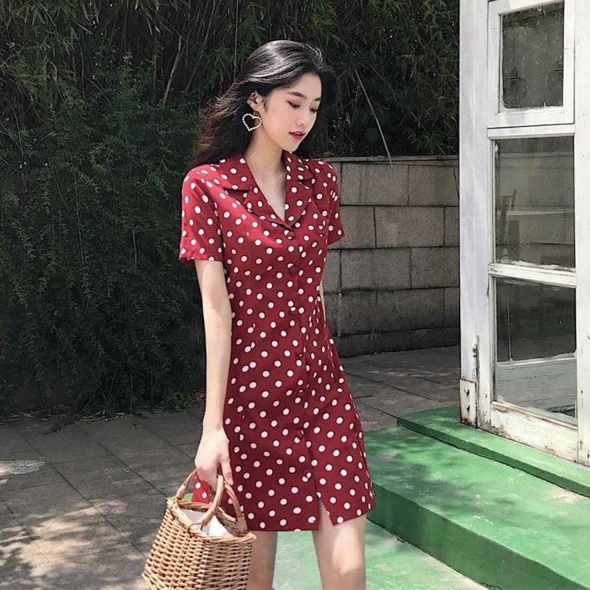 御姐范女装2018新款夏裙子bf女酷欧美少女心温柔风波点显瘦连衣裙