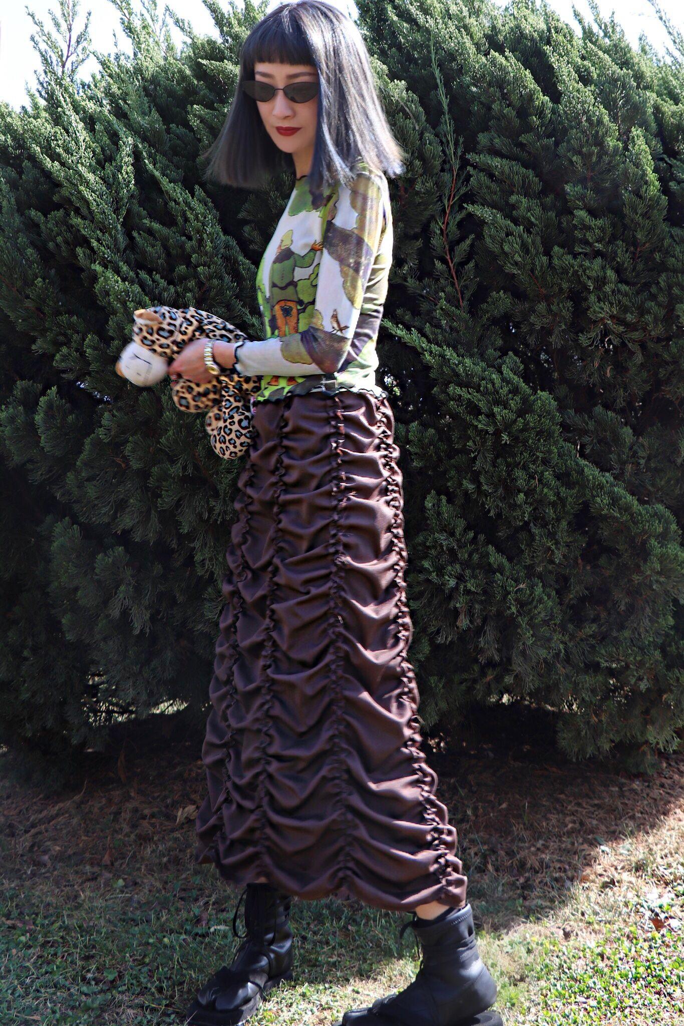 Zhaojinyuan original minority retro Yamamoto pleated skirt puffy high waist dark thin versatile skirt spring and summer