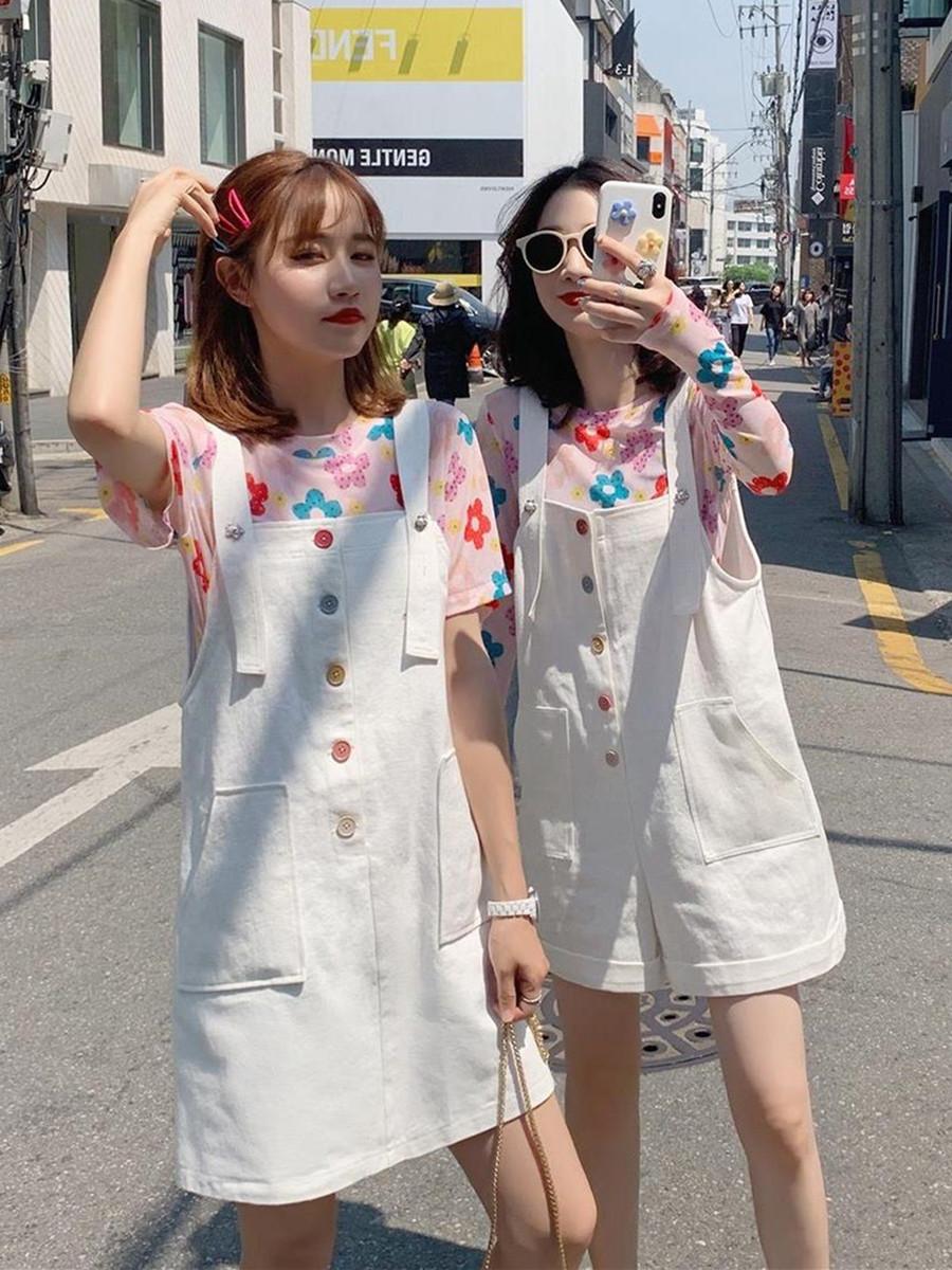夏季闺蜜装两件套酷帅气韩版宽松原宿风女套装背带裙洋气减龄时尚满79.00元可用23.2元优惠券