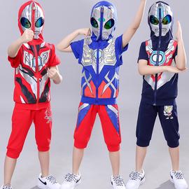 奥特曼衣服男童夏装套装三件套潮男孩儿童节礼物洋气蜘蛛侠儿童装图片