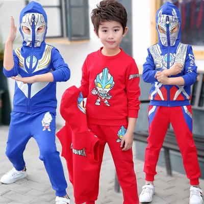 奥特曼衣服儿童秋装套装卫衣三件套男孩帅气春秋季蜘蛛侠男童装潮