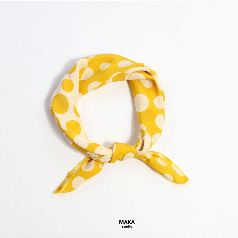 MAKA 草间弥生 高饱和柠檬黄不规则波点文艺小方巾百搭丝巾发带女