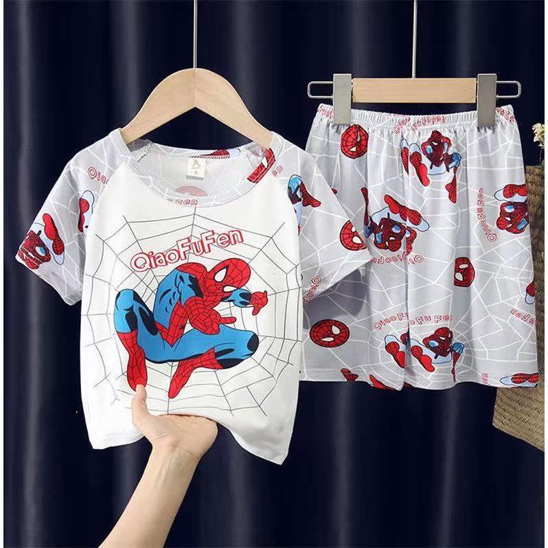 夏季儿童睡衣短袖男孩女童中大童薄款卡通宝宝男童学生家居服套装