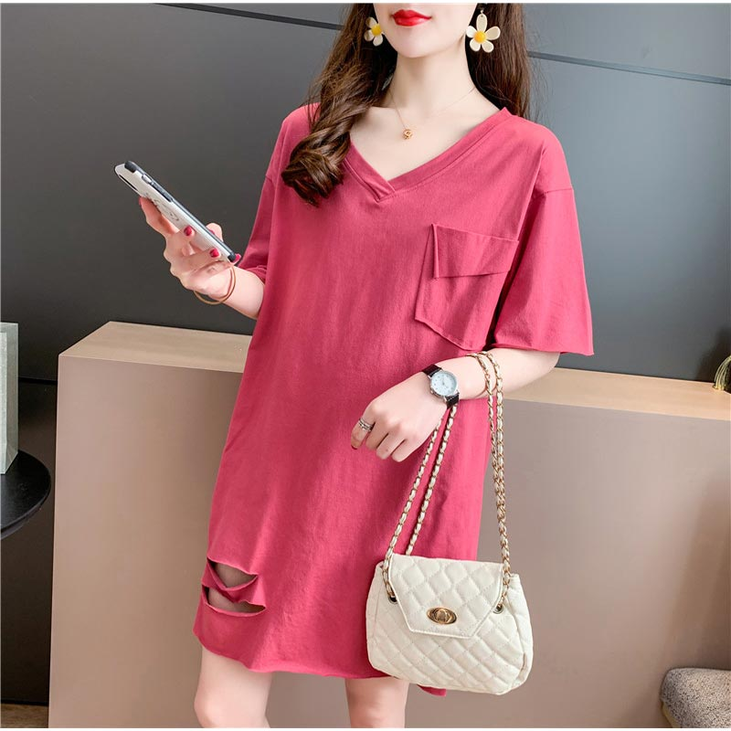 Cotton T-shirt womens summer short sleeve loose split hole creative net red lower body fashion V-neck top womens wear