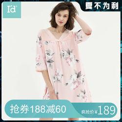 【商场同款】爱帝2019春夏新款女士睡裙全棉睡衣纯棉印花短袖女裙