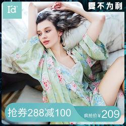 【商场同款】爱帝新款女睡衣吊带性感宽松睡裙女式睡袍印花家居服