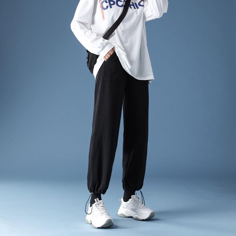 黑色运动裤女宽松束脚夏季薄款2020新款秋季抽绳休闲显瘦工装裤子
