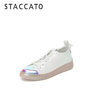 思加图2020春季新款时尚街拍运动鞋珠光小白鞋仙女单鞋子9AY47AM0