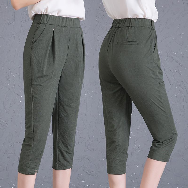 夏季七分裤女外穿薄款中年打底裤大码宽松高腰弹力哈伦裤妈妈裤子