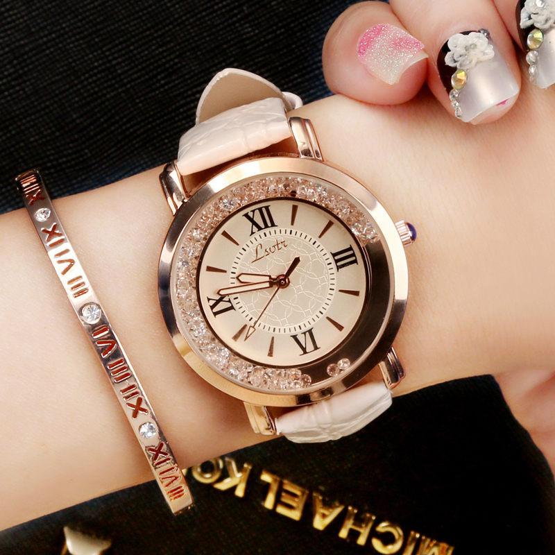 女士手表流动水钻韩版时尚学生皮带款手表抖音网红同款复古ins风