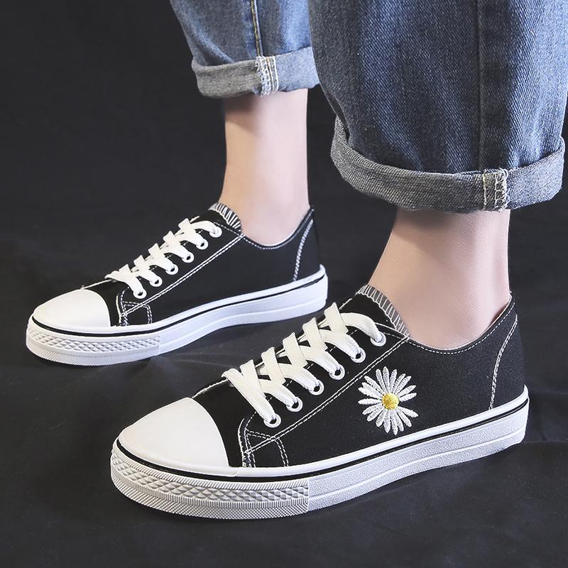 小雏菊小白鞋女2020春夏季薄款权志龙同款帆布鞋潮鞋厚底板鞋透气图片