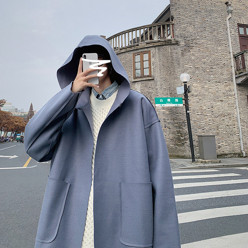 Woollen hooded windbreaker autumn and winter new Hong Kong Style Japanese fashion design simple solid color Cape Jacket