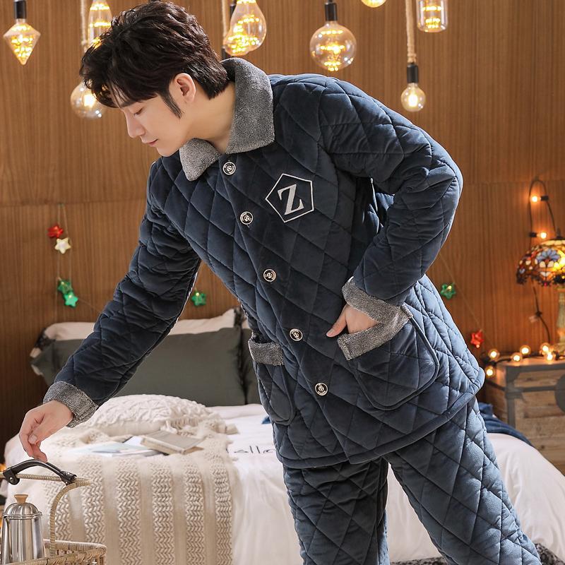 男士睡衣冬季珊瑚绒三层夹棉加厚加绒秋冬款保暖法兰绒家居服套装