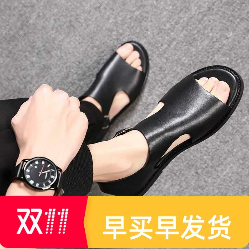 日本购罗马凉鞋男潮2020发型师凉鞋青年男式皮凉鞋牛皮男士凉皮鞋