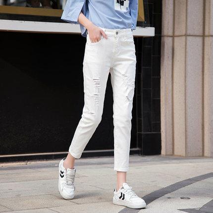 白色破洞九分裤夏季2019新款牛仔裤