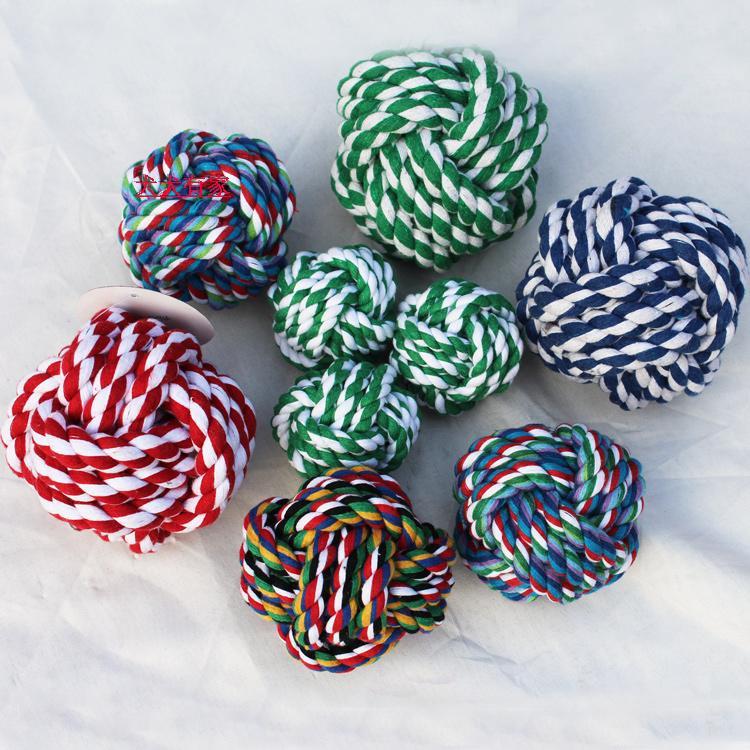 实心棉球磨牙狗玩具猫狗玩具棉绳球狗狗玩具颜色随机