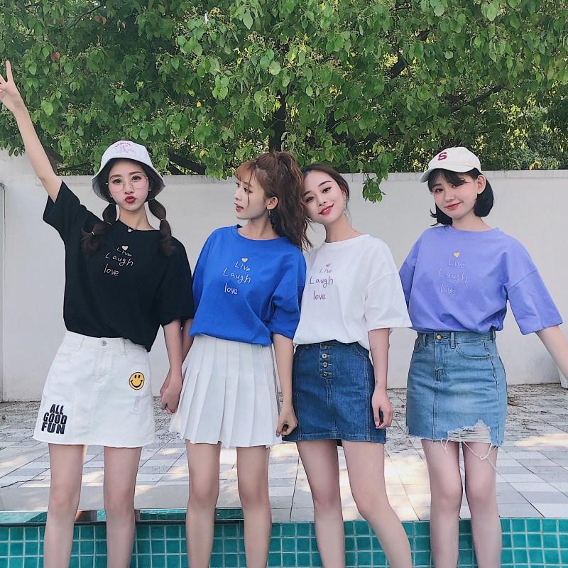 夏季新款韩版百搭姐妹闺蜜情侣装学生宽松短袖T恤女怪味少女上衣
