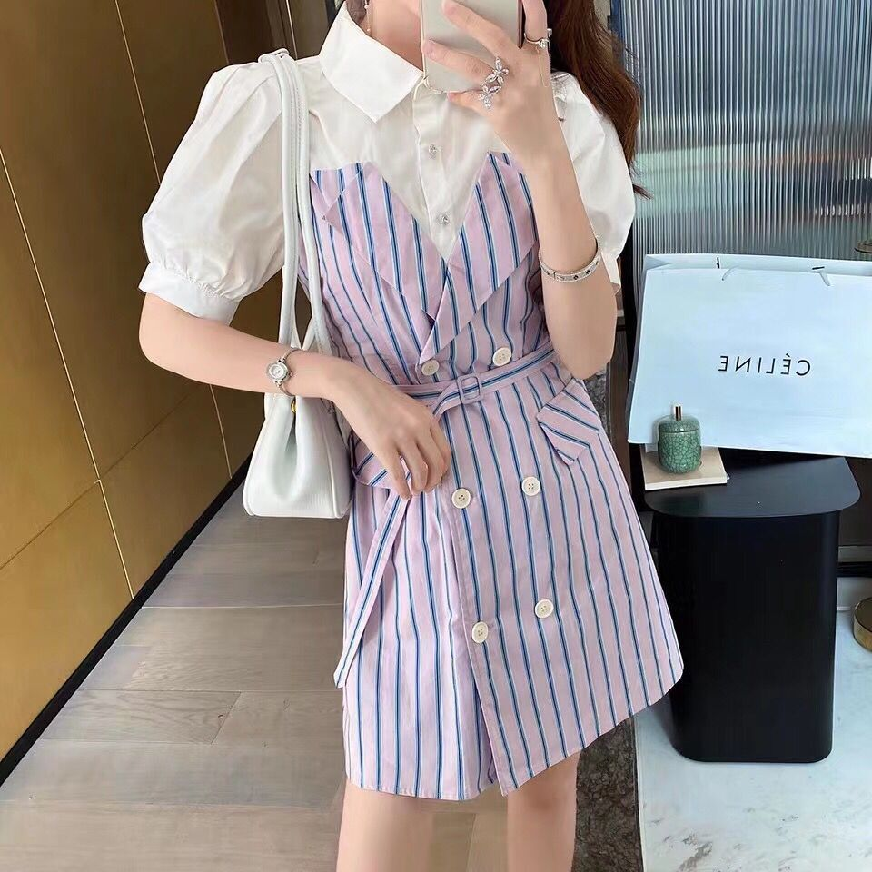 Fake two piece patchwork belly covering dress for womens summer 2020 new style waistband showing thin temperament, foreign style striped shirt and skirt